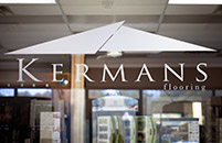 Kermans Flooring showroom window signage